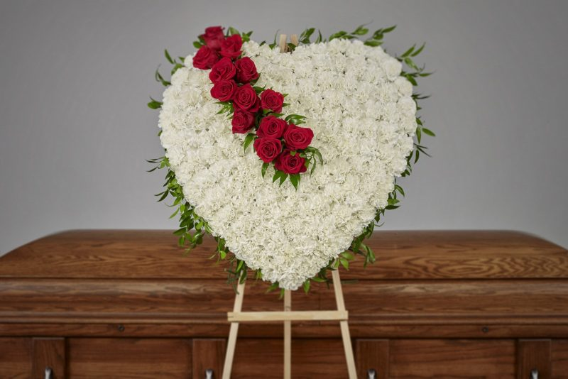 Solid Carnation Heart with Roses