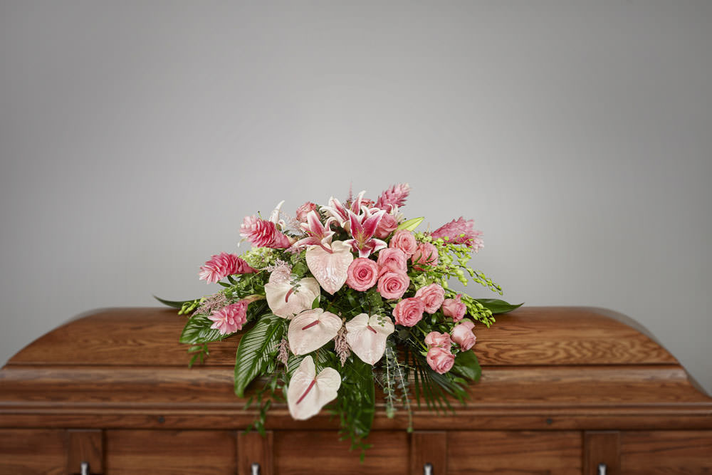 Exotic pink casket - Pink Troplical Casket Spray
