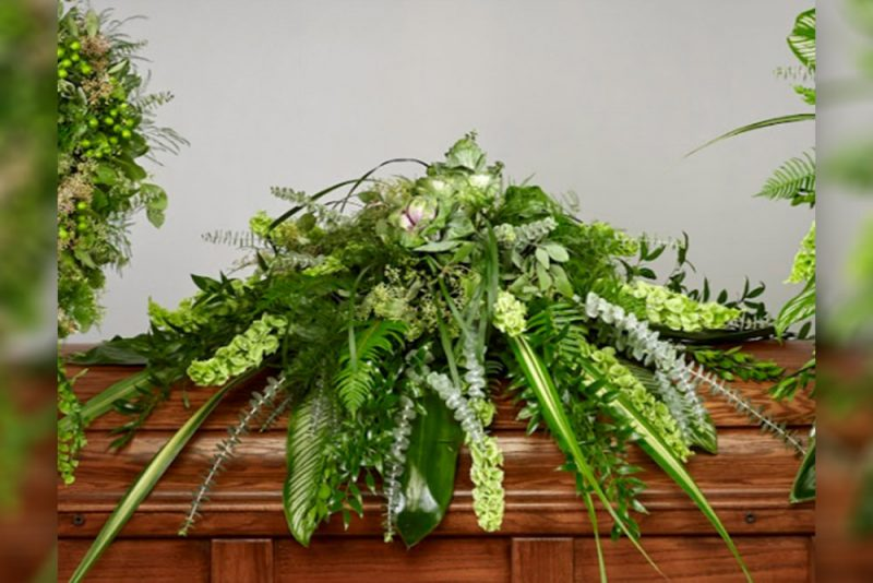 Fresh Greens Casket Spray new 800x534 - Lush Greens with Roses Casket Spray