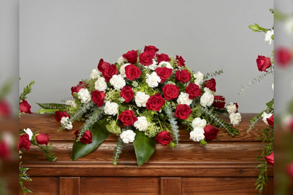 Roses and carnationss Casket Spray new - Roses and Carnations Casket Spray