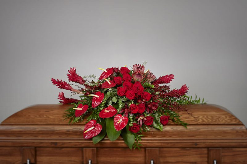 Tropical red casket 800x534 - Red Tropical Casket Spray