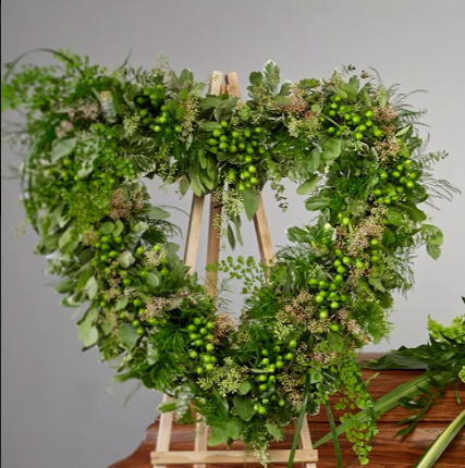 all greens open heart arragement - Lush Greens Open Heart Easel