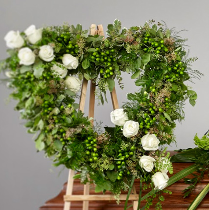 all greens with roses crop the collection photo - Greens with Roses Open Heart Easel