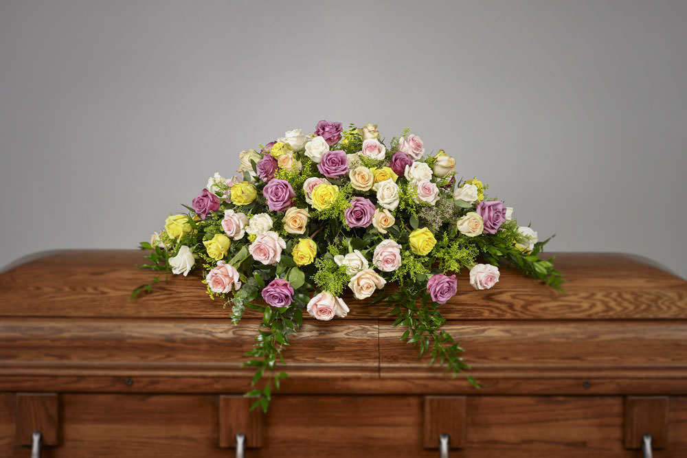 pastel rose casket - Pastel Rose Casket Spray