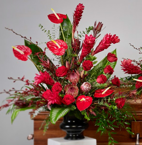 tropical red vase arrangements - Red Tropical Collection Arrangement